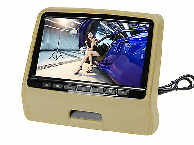 "9"" Ultra-thin Car Headrest Monitors w/DVD Player/USB/HDMI+Games -Beige"
