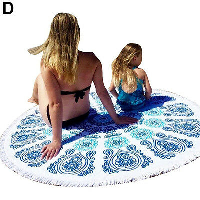 150cm Bohomian Summer Round Beach Towle Picnic Blanket Cover Up Shawl Seraphic