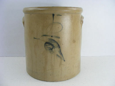 Antique salt glaze crock with cobalt blue leaf decoration