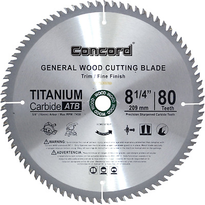 Concord Blades 8-1/4-Inch 80 Teeth TCT General Purpose Hard Soft Wood Saw Blade