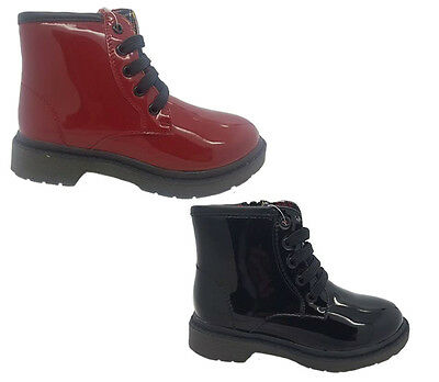 Girls Boots Grosby Presley Black or Burgundy Patent Lace Up Zip Up Boot Size 8-1
