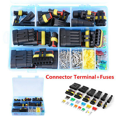 Car Waterproof Electrical Connector Terminals + Standard & Mini Blade Fuses Kit