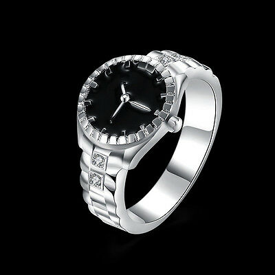 Women Lady Fashion Jewelry Silver Plated Zircon Round Finger Ring Watch Size 7/8