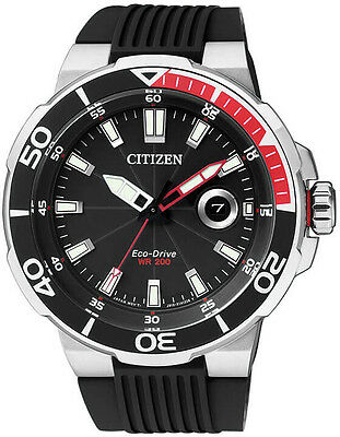 Citizen Eco-Drive AW1420-04E. Stainless Steel Mens Watch Resin Band. Classic.