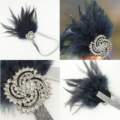 Silver Headpiece Dark Grey Feather Diamante 1920s Headband Flapper Great Gatsby