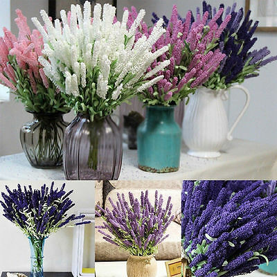Home Decoration 12 Heads Lavender Bouquet Wedding Silk Flowers High Simulation J