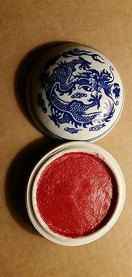 Chinese Porcelain QuinLong Dragon Seal Chop INK Red Paste (new) ink pad
