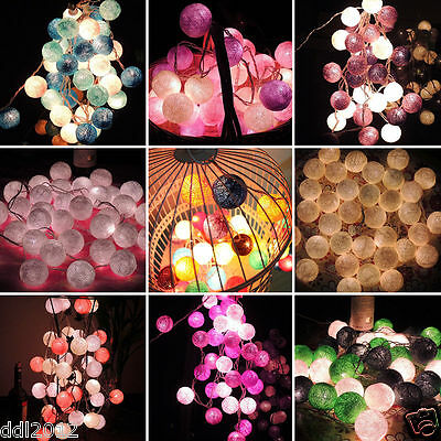 20 Cotton Ball Fairy Led String Lights Wedding Party Patio Christmas Decor Au