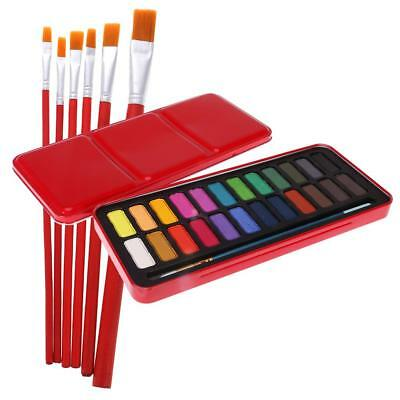 Watercolor Painting Supplies Set 24 Colors Solid Watercolor with Paint Brush