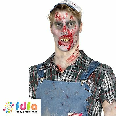 BROWN HILLBILLY TEETH WITH FITTING BEADS HALLOWEEN Mens Fancy Dress Costume