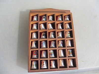 Wooden Thimble Display Rack Boxes Holder Felted Back Wood Porcelain Thimbles
