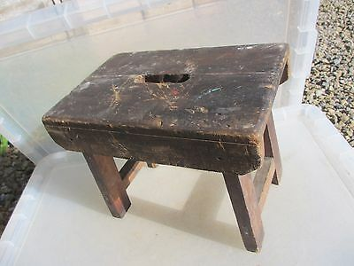 Vintage Wooden Stool Bench Seat Children Kids Milking French Old