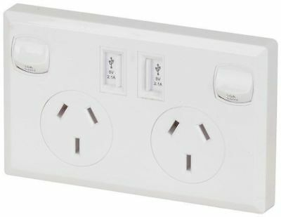Double 10a 240v GPO with 2 x USB 2.1amp Charging ports