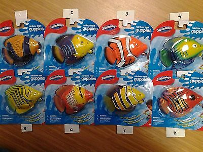 "SwimWays Rainbow Reef Guppies great bath and pool toy 5"" pull string action"