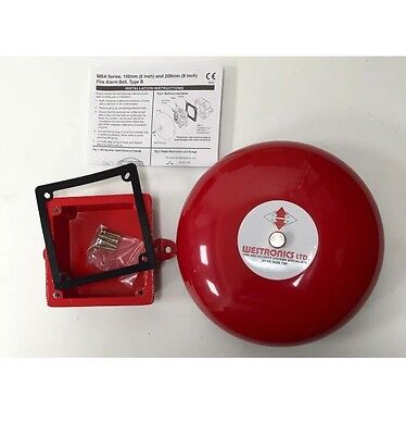 MBA-6 Weatherproof Fire Alarm Bell, Red 24Vdc 150mm (6inch)