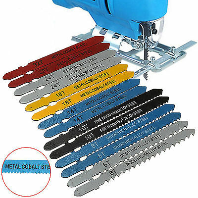 14Pcs Assorted Metal Steel T-shank Jigsaw Blade Set Fitting For Plastic Wood New