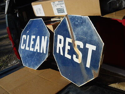 Vintage Double Sided Porcelain Clean Rest Rooms Sign Gas Station Missing One