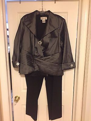 Nwot J.r. Nites Gray Formal Top With Crystals 22W + Kate Hill Black Pants 20W