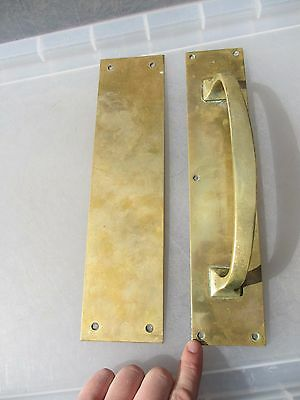 Vintage Brass Door Handles Set Pull & Finger Plate Architectural Antique Old 12""