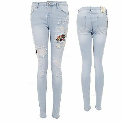 Ladies Pearl Beaded Flower Ripped Denim Distressed Cut Out Skinny Jeans