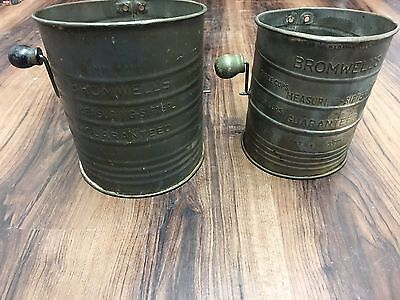 Vintage Bromwell's Measuring Flour Sifters with Crank Handles 3 & 5 Cup