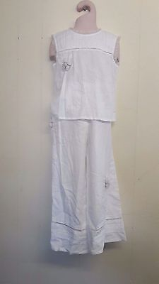 Gorgeous White Top & Trousers Set from Feu Follet - Age 5-6 or 7-8Yrs - BNWT!