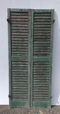 Pair Antique Window Wood Louvered Shutter Shabby Old Chic Vtg 66x15 376-17R
