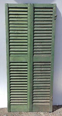 Pair Antique Hinged Window Wood Louvered Shutter Shabby Vtg Chic 66x15 379-17R
