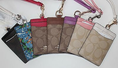 New Colors Added Coach Signature Lanyard Id Badge Holder Case 63274 Nwt