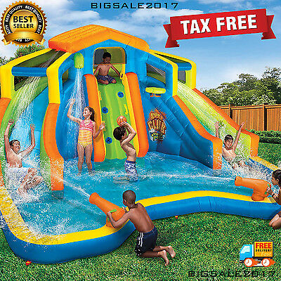 Commercial Large Inflatable 2-Lane Water Slide Bounce House Park Splash Pool Kid