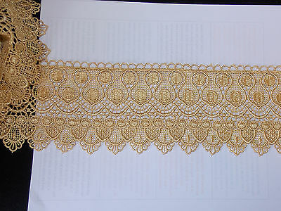 11cm gold embroidered guipure lace bridal wedding dress prom trim veil net