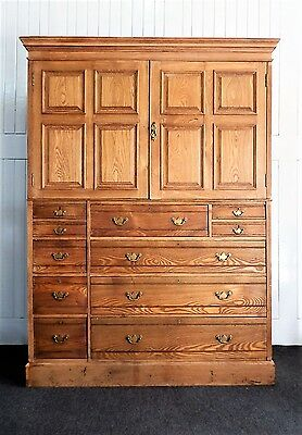 Good Quality antique Ash Victorian large Linen press / cupboard bank of drawers