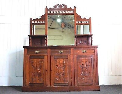 Antique Victorian carved walnut mirror back sideboard