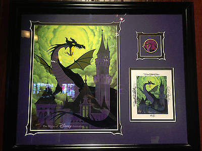 Disney Sleepiing Beauty Maleficent Cel Framed with Signed Card and Pin