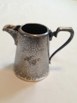 Silver Plated Etched Engrave Milk Jug - EPNS - JH Potter Sheffield  England