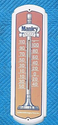 "Vintage MANLEY VALVES 27"" THERMOMETER gas oil auto car metal sign WORKS"
