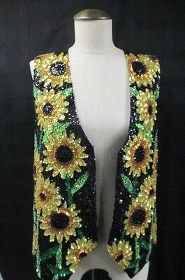 Vtg Sequin Beaded Floral Sunflower Vest Womens Large Boho Festival