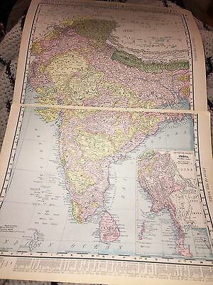 1898 RAND McNALLY MAP OF INDIA