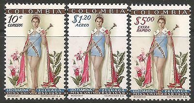 COLOMBIA. 1959. Luz Marina Zuluaga Miss Universe. SG: 952/54. Mint Never Hinged.