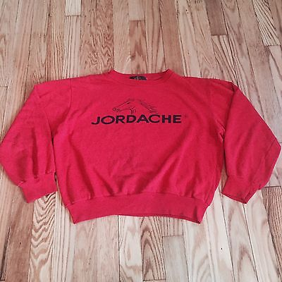 Vintage 80s Womens M Jordache Denim Jeans Sweatshirt Horse Red Crop Length Shirt