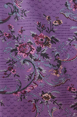 Vtg Cranston Purple Rose Needlepoint Cheater Cotton Blend Quilt Fabric 4 YD