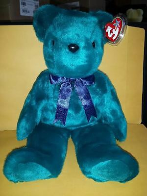 Ty Beanie Buddies Old Faced Teal Teddy Bear 14 Inch Plush Stuffed Animal 2000