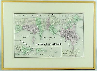 Original 1873 Map Suffolk Cnty Southold Shelter Is Orient Greenport Beers