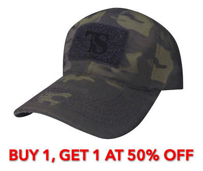 Tru-Spec 50/50 Nylon/Cotton Rip-Stop Adjustable Ball Cap, MultiCam Black
