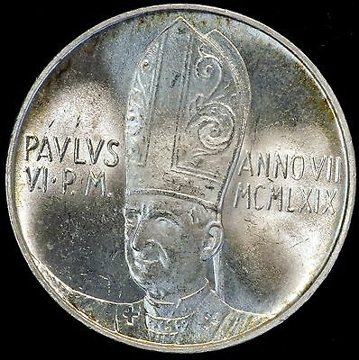 1969 Italy 500 Lire Silver Coin Vatican City Pope Paul VI Choice BU ASW 0.29oz