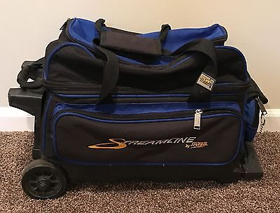 Storm Streamline Bowling 2 Ball Two Bag Black Blue Wheeled Handled Zipper Pocket