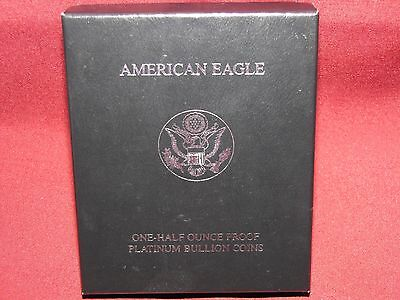 1998 1/2 Oz Platinum Proof American Eagle, Ogp Empty Box With Coa, No Coin