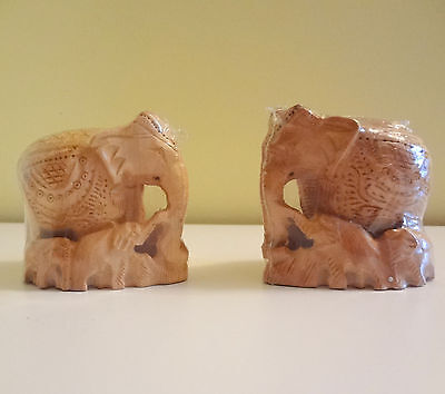 India 2 Wooden Hand Carved Elephant Figurine Statues Lucky Home Decor Souvenir