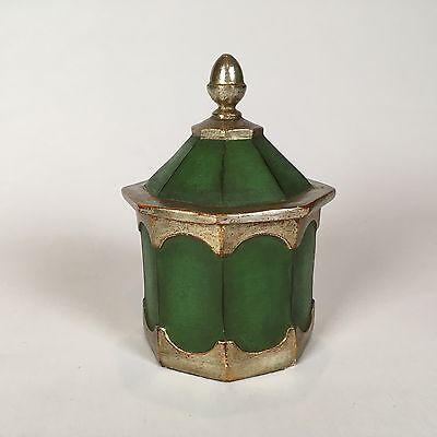 Antique Vintage Borghese Italy Silver Gilt & French Green Box