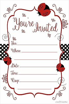 Ladybug Party Invitations - Birthday, Baby Shower, Any Occasion - Fill In Style